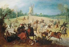 A cavalry battle in a wooded valley before a windmill