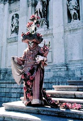 Carnival Figure on the Steps of Santa Maria della Salute, Venice