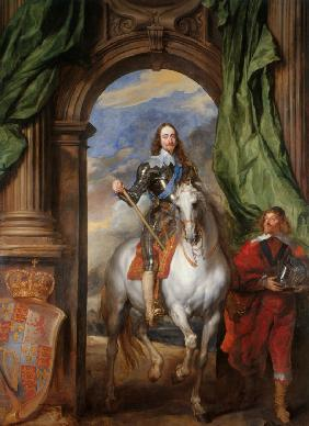Equestrian portrait of Charles I, King of England  (1600-1649) with M. de St Antoine