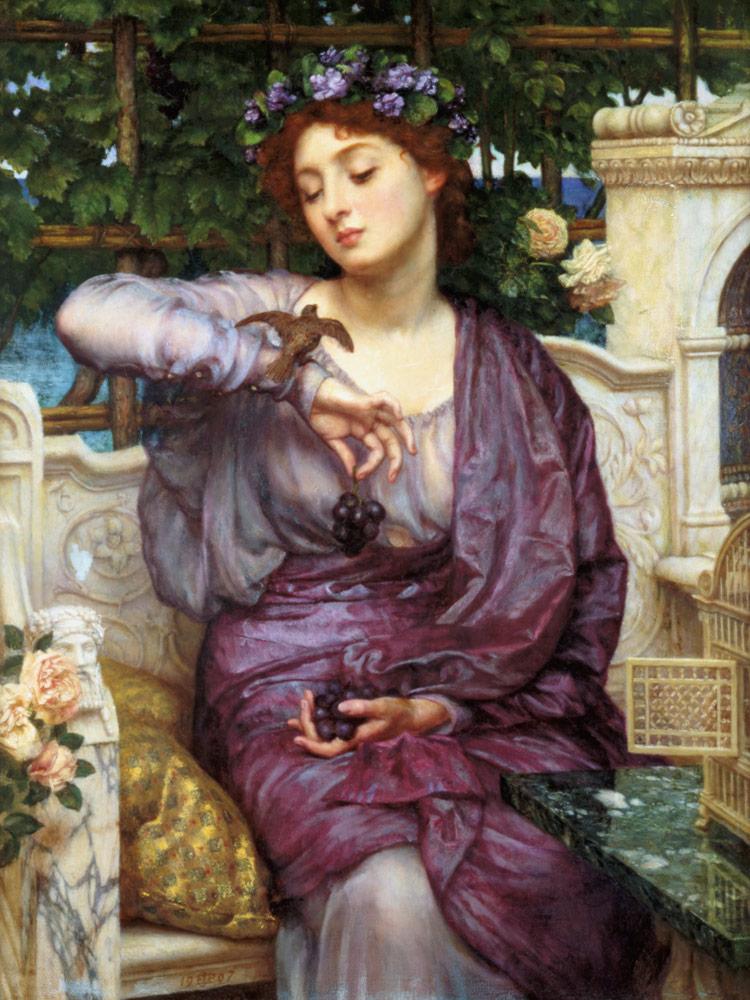 Lesbia with her sparrow - Sir Edward John Poynter en reproducción impresa o  copia al óleo sobre lienzo.