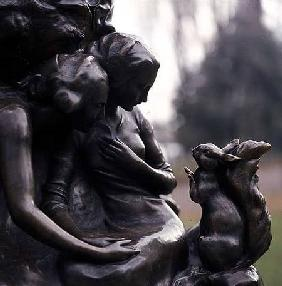 Detail from the base of the Peter Pan statue
