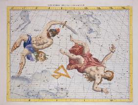 Constellation of Perseus and Andromeda, from 'Atlas Coelestis', by John Flamsteed (1646-1719), pub.