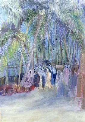 Anjuna Market, Goa, India, 1997 (oil on paper)