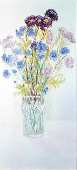 Cornflowers and Asters, 1997 (oil on board)