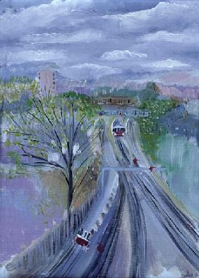 Hammersmith to Barons Court, 1996 (oil on canvas)