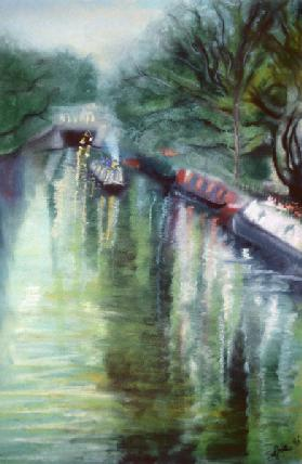 Little Venice, Regent''s Canal, 1996 (pastel on paper)