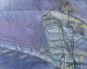 The Ark, Novotel Hotel, Hammersmith Flyover, 1999 (pastel on paper)