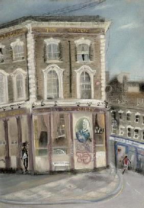 ''The Queen'' pub, Bellefields Road (pastel on paper)