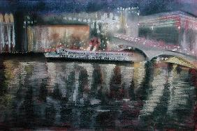 Waterloo Bridge, from the South Bank, 1995 (pastel on paper)