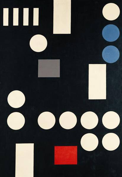 Composition with rectangles and circles on a black