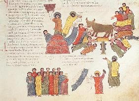 Fol.46r Adoration of the Golden Calf, from the ''Bible Mozarabe''