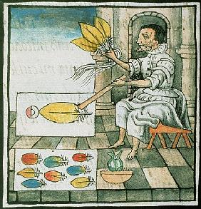 Ms Palat 218-220 Book IX An Aztec feather artisan, from the ''Florentine Codex'' by Bernardino de Sa