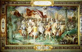 Charles V (1500-58) Alessandro (1546-92) and Ottaviano Farnese Leading the Army Against the Landgrav