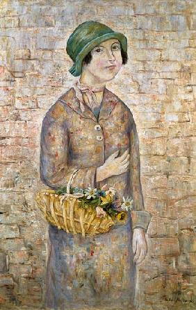 A Girl with a Basket of Flowers