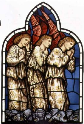 Three Angels, stained glass window removed from the east window of St. James' Church, Brighouse, Wes