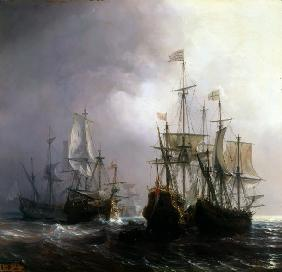 Capture of three Dutch Commercial Vessels by the French Ships Fidèle, Mutine and Jupiter, in 1711
