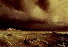 Sea storm in the bay of Naples