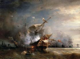 The naval Battle near Lizard Point, Cornwall on 21 October 1707