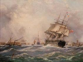 British Warship off Portsmouth