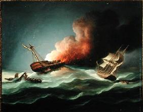 The East Indiaman Kent on Fire in the Bay of Biscay