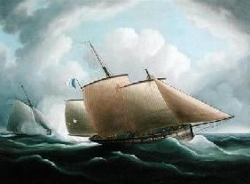 A French Lugger Pursued by an English Cutter