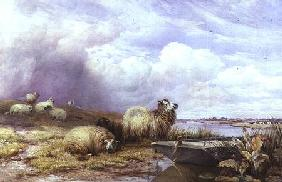 A Landscape with Sheep and boat