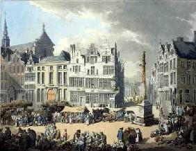 Place de Mier at Antwerp, engraved by Wright and Schutz, pub. by Rudolph Ackermann