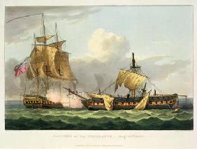 The Capture of La Vengeance, August 21st 1800, engraved by Thomas Sutherland for J. Jenkins's 'Naval