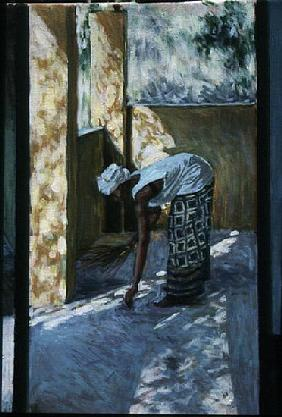 Girl Sweeping II, 2002 (oil canvas) (see also 188679, 188681)