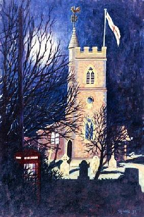 Moonlit Church, 1997 (oil on canvas)