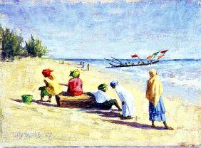 The Beach at Abene, Senegal, 1997 (oil on canvas)