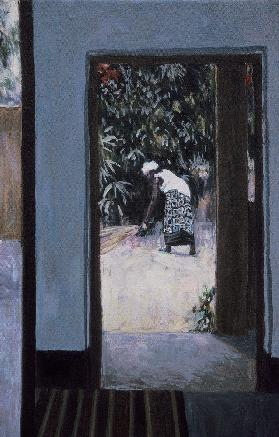 Girl Sweeping III, 2002 (oil on canvas) (see also 188679-680)