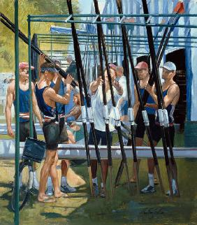 Collecting Oars (oil on canvas)