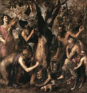 Apollo punishes Marsyas.
