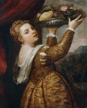 Girl with fruit bowl