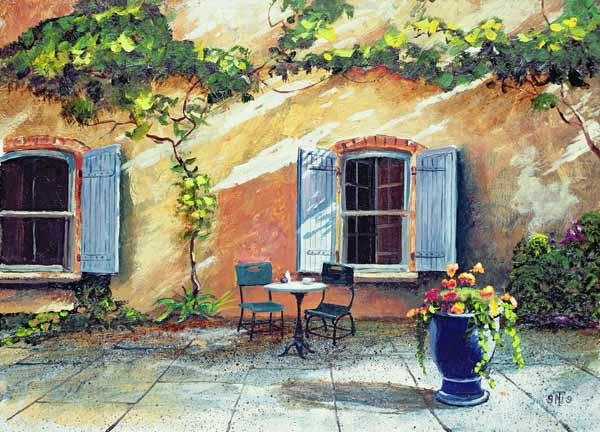 Shuttered Windows, Provence, France, 1999 (oil on board)