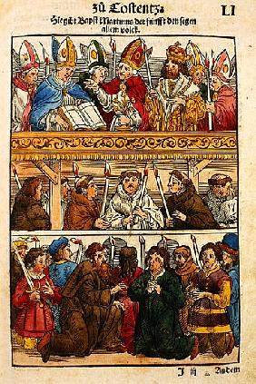 Martin V is elected Pope and blesses the people at the Council of Constance, 1417, from ''Chronik de