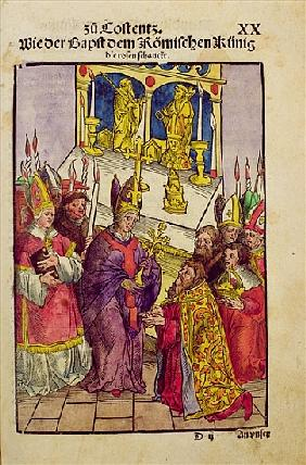 Pope Martin V gives Sigismund the symbolic gift of the Golden Rose at the Council of Constance, from