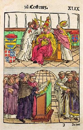 Pope Martin V is installed to the Papacy at the Council of Constance, from ''Chronik des Konzils von