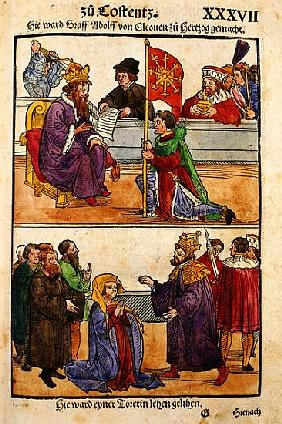 Sigismund raises Count Adolph of Cleves to the rank of Duke at the Council of Constance, from ''Chro