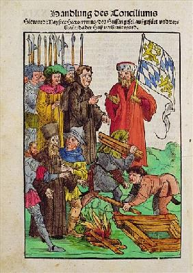 The execution of Jan Hus or one of his priests at the Council of Constance, from ''Chronik des Konzi