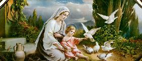 Mary and the Child playing with pigeons in an idealized  Landscape um 1900