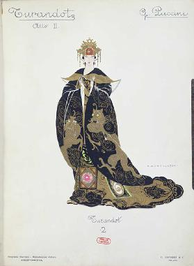 Costume design for the opera Turandot by Puccini, 1924