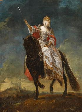 Maria Theresia as Queen of Hungary on the crowning hill of Pressburg