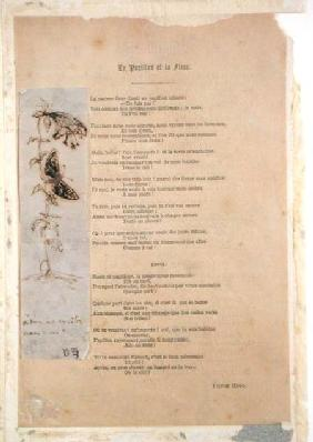 'Le Papillon et la Fleur', poem with an illustration of butterlies from 'Les Chants du Crepuscule'