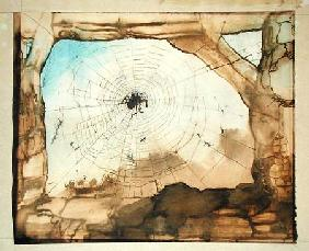 Vianden through a Spider's Web (pencil, India ink, sepia and w/c on