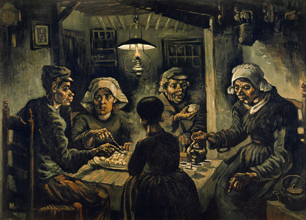 van Gogh / The Potato Eaters / 1885 - Vincent Van Gogh en reproducción impresa o copia al óleo sobre lienzo.