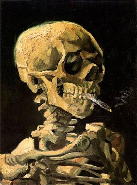 Skull with a burning cigarette 1885/86