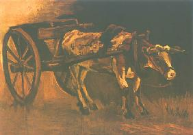 Cart with a reddish brown ox