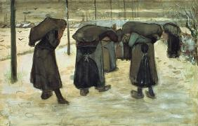Miners' wives carrying sacks of coal